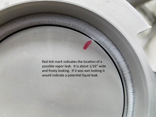 possible vapor leak cryogenic fitting