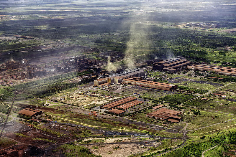 Aerial view of a bauxite mine exploitation and aluminum production