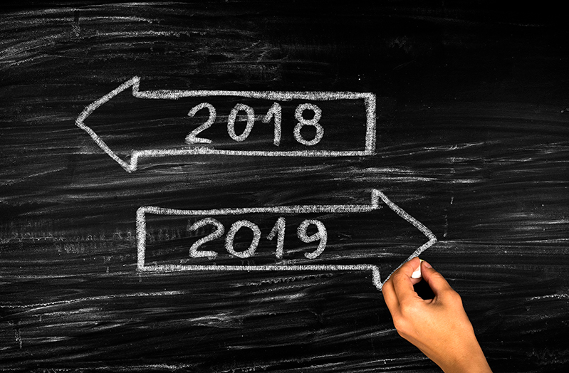 Chalkboard 2018 arrow and 2019 arrow