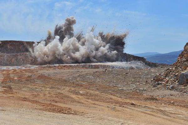 Limestone-blasting-exploding-rock-in-open-field